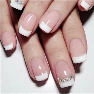 🆕 French Tip Rhinestone Decorated Press On Nails